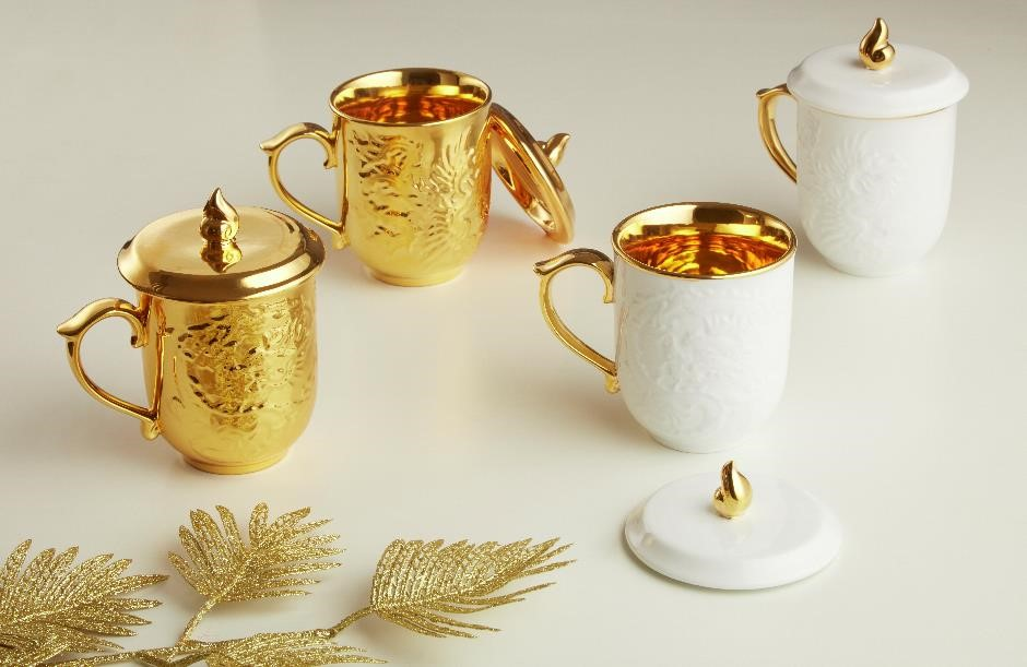 24k Golden Dragon & Phoenix Tea Mugs