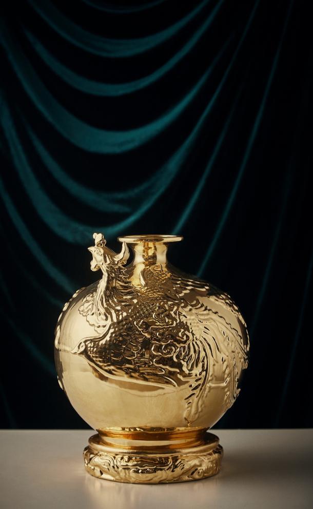 24K Gold Phoenix Vase